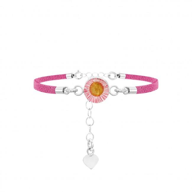 Гривна сребро и розова кожа, кръг Розова маргарита и сребърно сърце