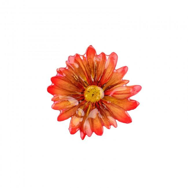 Медальон/брошка Хризантема Бенджамас, червено-жълт