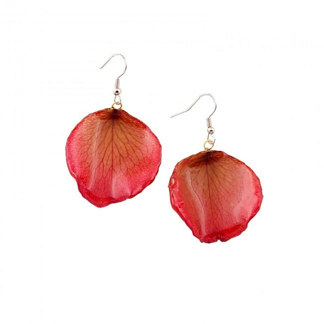 Обици Лотос, листо, червени
