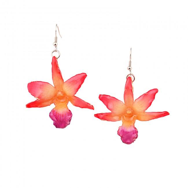 Обици Орхидея Дендробиум Драконис, червени