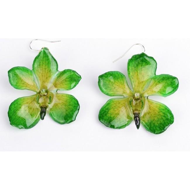 Обици Орхидея Мокара, зелени