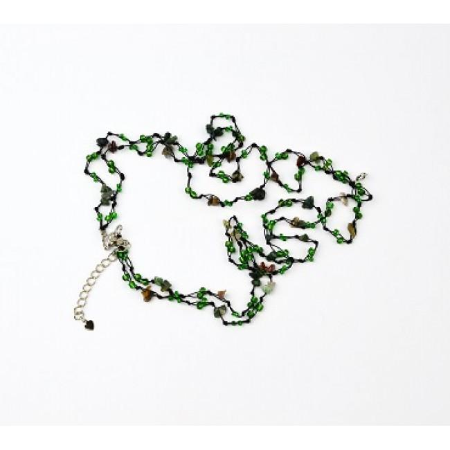 Огърлица от полускъпоценни камъни, зелени