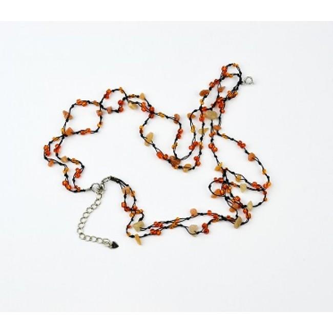 Огърлица от полускъпоценни камъни с Ахат, оранжев