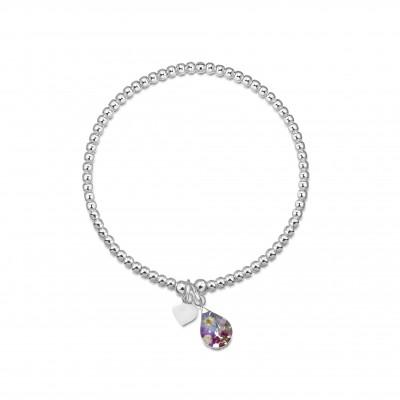 Сребърна гривна, еластична, капка Виолетова омая и сребърно сърце