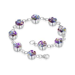 Сребърна гривна, верижка с кръгли елементи, Виолетова омая