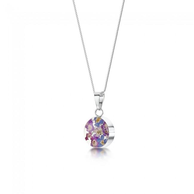 Сребърен медальон, кръг, малък, Виолетова омая