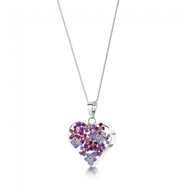Сребърен медальон, сърце среден, Виолетова омая