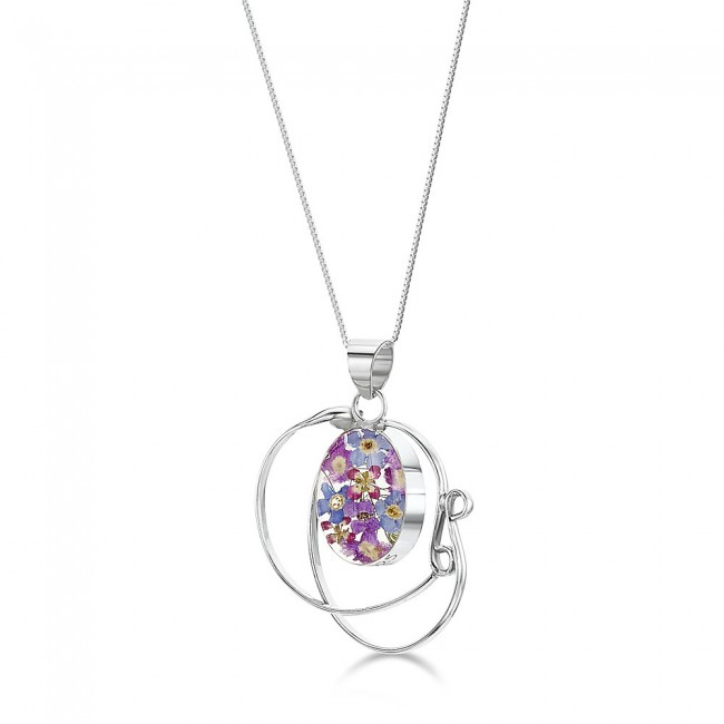 Сребърен медальон, овал във вихрушка, Виолетова омая