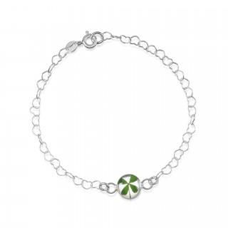 Сребърна гривна, верижка от сърца, кръг Четирилистна детелина
