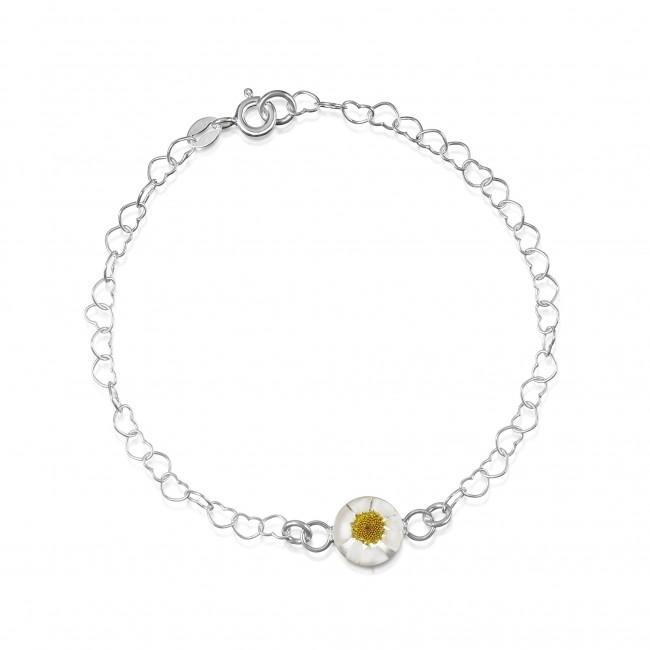 Сребърна гривна, верижка от сърца, кръг Бяла маргарита