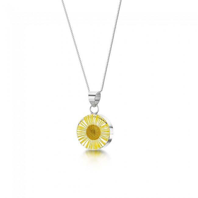 Сребърен медальон, малък кръг, Жълта Маргарита
