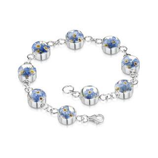 Сребърна гривна, верижка с кръгли елементи, незабравка