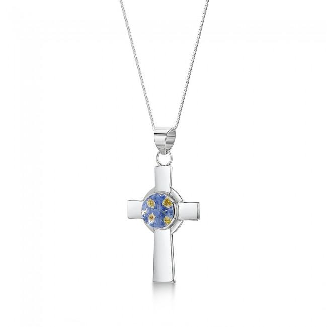 Сребърен медальон, Келтски кръст, Незабравка