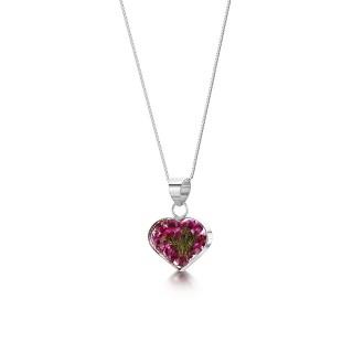 Сребърен  медальон, сърце, малък, Зимна Красавица