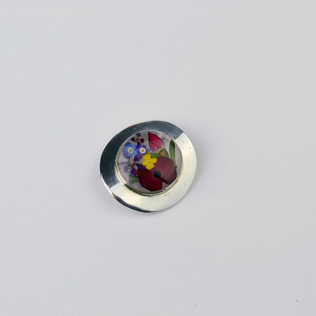 Сребърна брошка, кръг Микс
