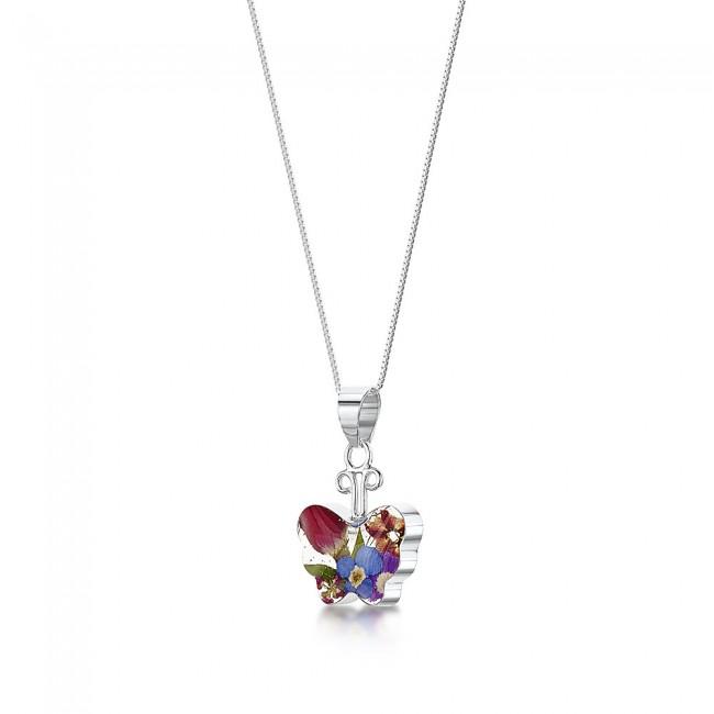 Сребърен медальон, пеперуда, малък, микс