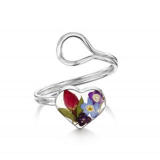 Сребърен пръстен, регулируем, сърце, цветен микс