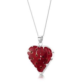 Сребърен медальон, сърце, голямо, мак