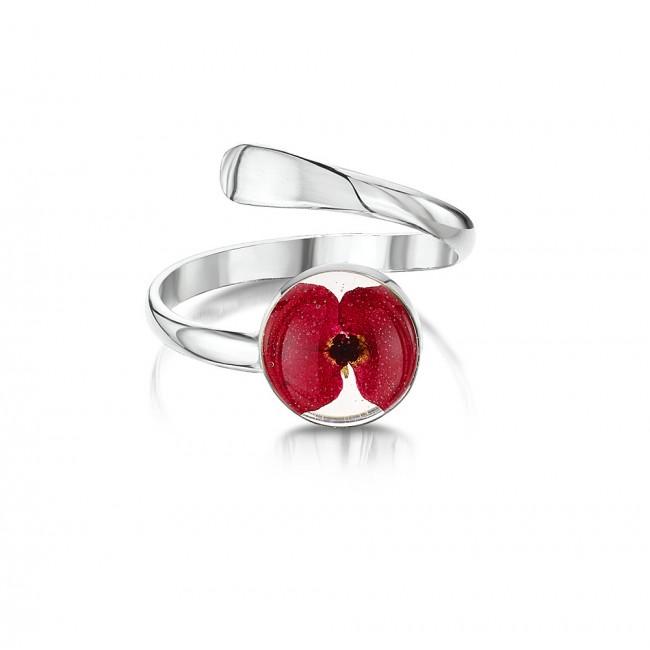 Сребърен пръстен, регулируем, кръг, мак